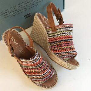 NIB Toms wedge sandals